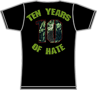 PROTECTION OF HATE - Girlie TEN YEARS OF HATE schwarz back
